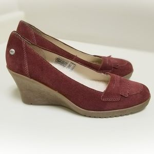 UGG | Maroon Burgundy Leather Wedge Size 11